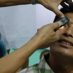 Checking a patient eyes for successful cataract surgery